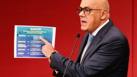 Communications Minister Jorge Rodriguez denounces the media campaign against Venezuela